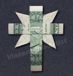 CHRISTIAN CROSS Money Origami - Dollar Bill Art by Vincent-the-Artist, $19.95 USD