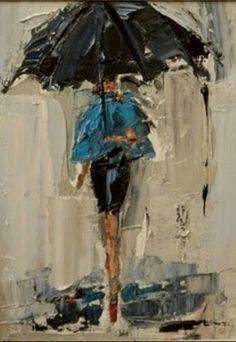 Art Amour, Art Texture, Rain Art, Umbrella Art, Daily Painters, Art Et Illustration, Dancing In The Rain, Art Design, Love Art