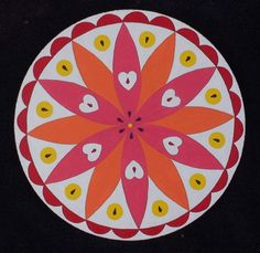 Double Rosette; Good Luck  Acrylic on 12 inch MDF Circle