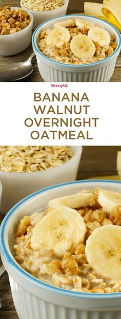 Fast and a cinch to prepare, this no-cook, no-bake Banana Walnut Overnight Oatme. - Fast and a cinch to prepare, this no-cook, no-bake Banana Walnut Overnight Oatmeal will get you up and keep you going all day long! Healthy Breakfast Recipes, Healthy Snacks, Healthy Recipes, Breakfast Ideas, Spinach Recipes, Healthy Breakfasts, Breakfast Smoothies, Tea Recipes, Eating Healthy