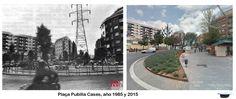 Plaça Pubilla Casas, año 1985 y 2015