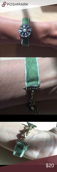 Very cute Anthropologie velvet bracelet!!! Sage color velvet bracelet. Perfect condition. All crystals are present and it's just so cute! Anthropologie Jewelry Bracelets