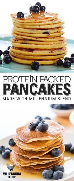 A nutritious pancake recipe the whole family will love Morning Start, Protein Packed Breakfast, Blueberry, Pancakes, Vanilla, Nutrition, Packing, Chocolate, Recipes
