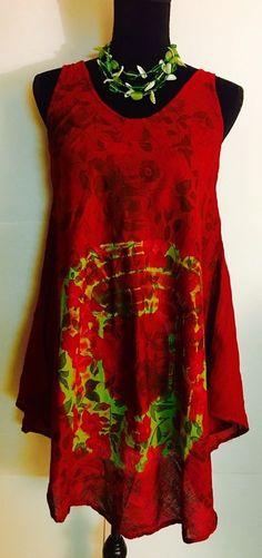 Women 100 Cotton Kurti Kurta Tunic Dress Top Sleeveless One Size Red Floral | eBay