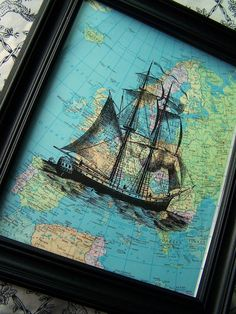 Ship, Nautical, Map, Pirate Ship,  Boat, Atlas, Vintage Art Print, Upcycled Book Page Print Floating Across The GlobeEtsy.