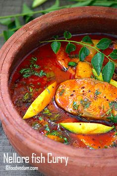 Nellore Fish Curry - How to make Andhra Mango fish Curry - Foodvedam Veg Recipes, Curry Recipes, Seafood Recipes, Cooking Recipes, Healthy Recipes, Cooking Fish, Healthy Meals, Prawn Recipes, Gastronomia
