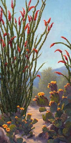 Oil painting of desert gardens by artist Lucy Dickens in Carefree, Arizona Desert Flowers, Desert Plants, Desert Cactus, Watercolor Landscape, Landscape Paintings, Landscapes, Cactus House Plants, Cacti, Cactus Decor