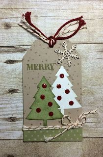 "diy_crafts-Kards by Kadie ""Kards by Kadie: Tag Thursday - Merry Tree Tag"", ""Beautiful tag with two trees loaded with jewels"", ""Tie for base Christmas Paper Crafts, Christmas Ornaments, Diy Christmas Tags, Christmas Tables, Holiday Gift Tags, Nordic Christmas, Modern Christmas, Christmas Wrapping, Christmas Projects"