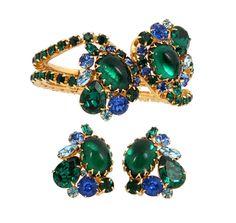 Alice Caviness Rhinestone Clamper Bracelet Earring Set #AliceCaviness #Cuff