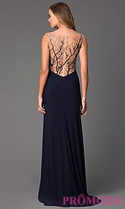 Buy V-Neck Floor Length Dress with Sheer Back at PromGirl