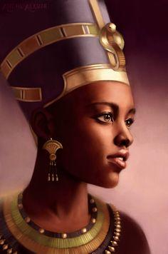 fyblackwomenart:  Nefertiti, Queen of Egypt by Aliciane