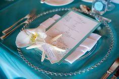 Pretty beach wedding reception table setting by; Karen Tran Floral's