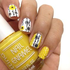 Instagram media by adelislebron - Day20: Floral for #nailartfeb base color Yellow by @bettinacosmetics