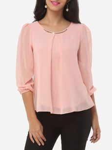 Buy Round Neck Plain Puff Sleeve Blouse online with cheap prices and discover fashion Blouses at Fashionmia.com.