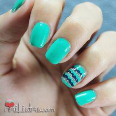 Easy Nail Art | Unas decoradas con verde, azul y plata All Intense Core Beauty