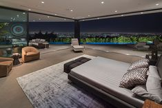 Contemporary bedroom with gorgeous views of Los Angeles