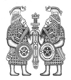 Saxon warrior carving. A number of helmet finds have featured similar (although significantly smaller) boar crests.
