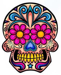 """Day of the Dead Decal Rockabilly Rock Vintage Sugar Skull Sticker. This is a Skull sticker in full color. It is made of vinyl. The decal measurements is X 4 """". Sugar Scull, Sugar Skull Art, Sugar Skull Tattoos, Dog Tattoos, Sugar Tattoo, Sleeve Tattoos, Tatoos, Mexican Skulls, Mexican Art"""