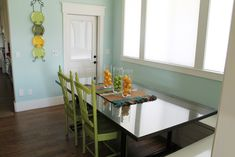"""Aaron and Heather's """"New"""" So-Fresh-And-So-Clean Dining - Chris Loves Julia Benjamin Moore Green, Lime Pictures, Basement Colors, Chris Loves Julia, Paint Samples, Baby Design, Paint Colors, Wave, Cleaning"""