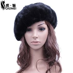 Winter Women Beanies Hat Female Real Fur With Fluffy  Ushanka Hat Caps Real Mink Fur Octagonal Caps Fashion Russian Vintage Hat