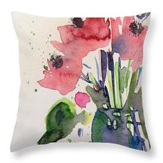 "Poppy Flowers Throw Pillow by Britta Zehm. Our throw pillows are made from 100% spun polyester poplin fabric and add a stylish statement to any room. Pillows are available in sizes from 14"" x 14"" up to 26"" x 26"". Each pillow is printed on both sides (same image) and includes a concealed zipper and removable insert (if selected) for easy cleaning."