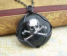 Pirate Necklace with treasury map - Jolly Roger Pendant - wire wrapped pirate pendant - skull and crossbones $32.00
