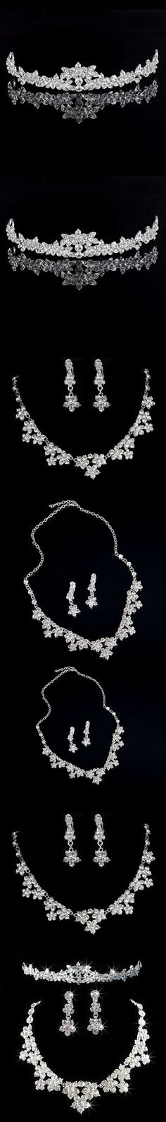 2015 Luxury classic bride 3 -piece sets jewelry Necklace + Earrings + Tiaras 3 pieces Set Wedding accessories Jewelry Set