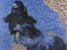 Andrea Rich - Ravens. Woodcut, Original Print~~~ http://jacksonholearttours.com/ArtBlog/2013/10/09/treeball-tales/