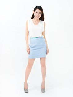 TWEED SKIRT BLUE - Tattle Tuesdays