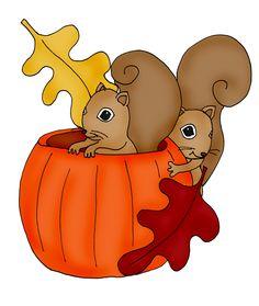 Pumpkin Squirrels color | Dearie Dolls Digi Stamps