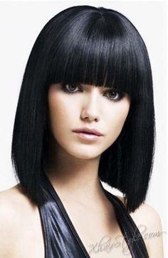 Straight Medium Hairstyles With Bangs