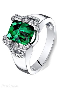 14K White Gold Emerald Diamond Ring