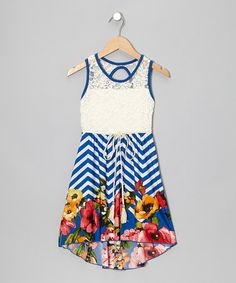 Take a look at this Royal Lace Zigzag Floral Hi-Low Dress by Just Kids on #zulily today!