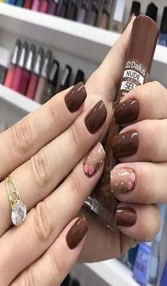 Squoval nails are same as square nails that have oval edges. Explore the trendiest squoval nail designs handpicked just for you. Brown Nail Art, Brown Nails, Red Nails, Toe Nail Color, Fall Nail Colors, Pastel Colors, Square Nail Designs, Gel Nail Designs, Nails Design