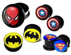 ACRYLIC SUPERHERO FLESH TUNNEL SCREW FITTING EAR PLUG 4mm-25mm | eBay