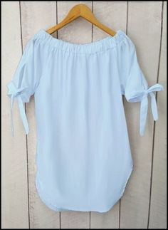 Bluzka Koszula HISZPANKA Odkryte Ramiona BABY BLUE