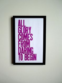 Amethyst Motivational Art All Glory Comes from Daring to Begin by PrintandBeMerry