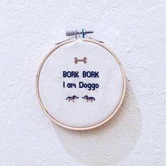 bork bork i am doggo cross stitch pattern sign for dog von crfu