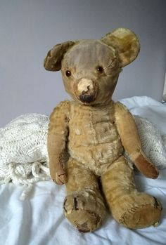 A LOVELY ANTIQUE MERRYTHOUGHT TEDDY BEAR* IN NEED OF TLC* WITH LABEL* 1930*