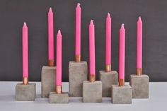 Concrete + copper candleholders--a DIY on So Fancy Blog!