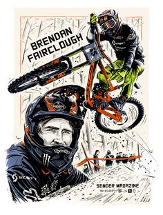 Sender Mag – Brendog. Illustration of Brendan Fairclough for Sender Magazine by Adi Gilbert / 99Seconds. MTB / Bike / Downhill / Deathgrip