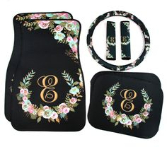 Mint and Gold Floral Monogrammed Car Mats Classy Black Monogram Car Floor Mats Steering Wheel Cover Seat Belt Covers Custom Car Accessories by ChicMonogram on Etsy