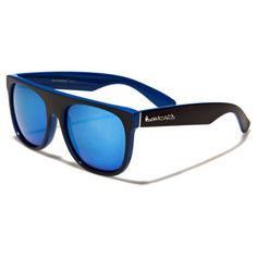 Biohazard Mens/Womens Wayfarer Sunglasses Black and Blue with Colored Mirror Lens