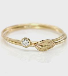 Diamond & Leaf Stacking Rings Set by Melanie Casey on Scoutmob Shoppe