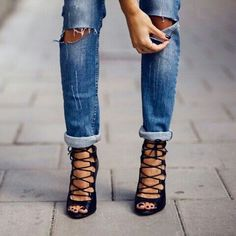 Ripped jeans and heels