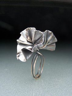 Ring |  Cynthia Del Giudice.  Sterling silver, patina.  Fold formed