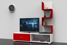 White-Red Wall Unit/TV stand with drawers Tv Unit Decor, Tv Wall Decor, Tv Unit Furniture Design, Tv Stand With Drawers, Tv Stand Decor, Modern Tv Wall Units, Rack Tv, Living Room Tv Unit Designs, Tv Stand Designs