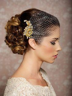 Bridal Veil and Gold Bridal Comb