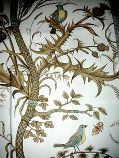 Brunswig et Fils wall paper - bird and thistle