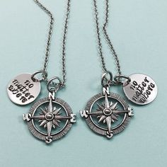 A set of 2 Compass charm necklaces with no matter where hand stamped on circle charm ***You will receive 2 necklaces with this order *Can choose